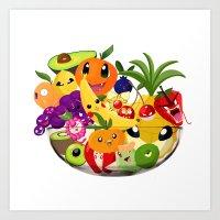 Monster Fruit Bowl Art Print
