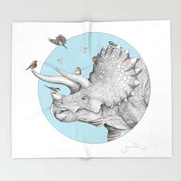Triceratops and Birdies Throw Blanket