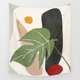 Abstract Monstera Leaf Wall Tapestry