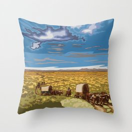 Vintage Poster - The Oregon National Historic Trail, Wyoming (2015) Throw Pillow
