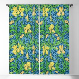 William Morris Irises, Yellow and Cobalt Blue Blackout Curtain