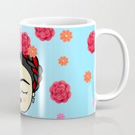 Viva la Frida, artist, flowered Coffee Mug