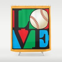 baseball Shower Curtains featuring Love Baseball by Gary Grayson