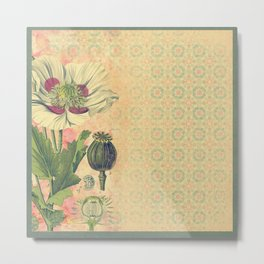 Poppies Deluxe:  White and red poppy botanical print with shabby look Metal Print