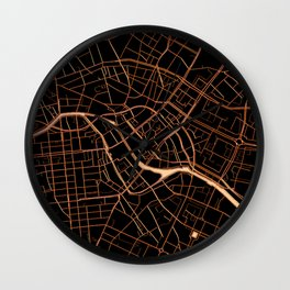 Black and gold Berlin map Wall Clock