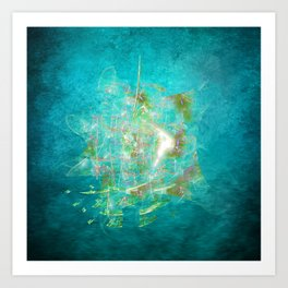 Fractal ghost ship on the azure ocean Art Print