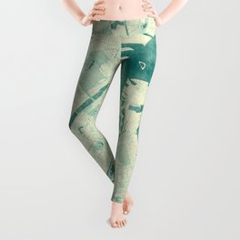 Copenhagen Map Blue Vintage Leggings