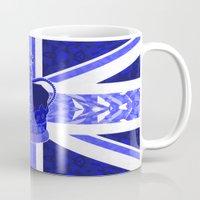 british flag Mugs featuring Royal Blue - British Flag & Crown by Ornaart