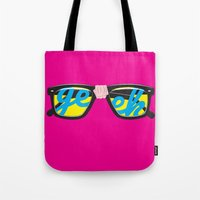 geek Tote Bags featuring Geek by Aaron Synaptyx Fimister