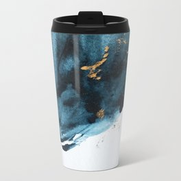 Sapphire and Gold Abstract Metal Travel Mug
