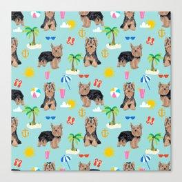Yorkshire Terrier dog breed pet pattern dog art pet friendly terriers portrait beach summer Canvas Print