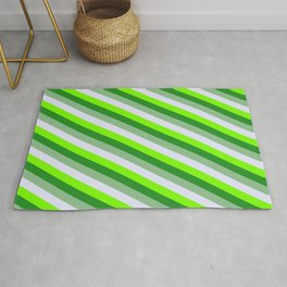 Dark Sea Green, Lavender, Green & Forest Green Colored Stripes/Lines Pattern Rug