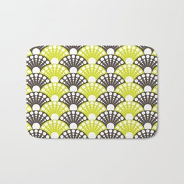 brown and lime art deco inspired fan pattern Bath Mat