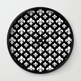 Fleur De Lis White on Black Wall Clock