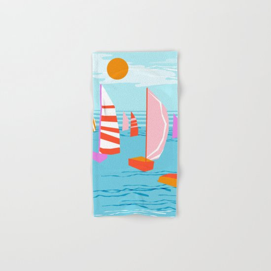 Quepasa - memphis throwback retro minimal modern neon boating yacht club sailing summer sport Hand & Bath Towel