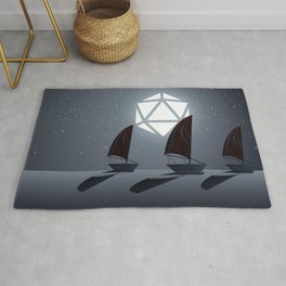 Boats in the Ocean Starry Night D20 Dice Full Moon Tabletop RPG Landscape Rug