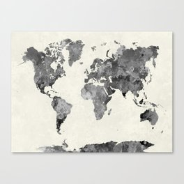 World map in watercolor gray Canvas Print