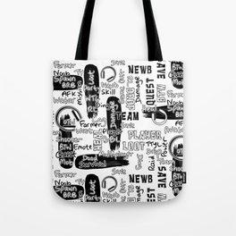 Gamer Lingo-White and Black Tote Bag