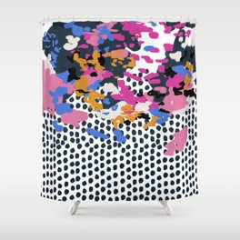 Kenzi - Flowers with Dots - Floral Abstract, graphic design print pattern Shower Curtain