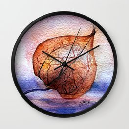 Watercolor Physalis in Light Wall Clock