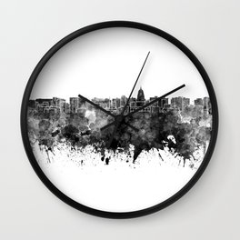 Madison skyline in black watercolor on white background Wall Clock