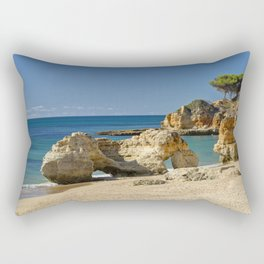 rock formation on Olhos d'Agua beach, Portugal Rectangular Pillow