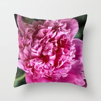 peony Throw Pillows featuring Peony by IowaShots