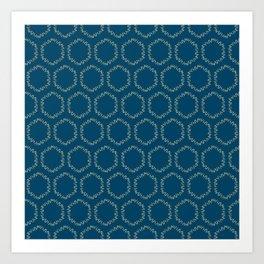 Eucalyptus Patterns with Blue Background Realistic Botanic Patterns Organic & Geometric Patterns Art Print