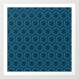 Eucalyptus Patterns with Blue Background Realistic Botanic Patterns Organic & Geometric Patterns Art Print
