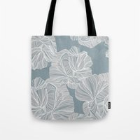 gray pattern Tote Bags featuring Gray Roses Pattern - Blue  by Sweet Karalina