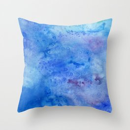 Mariana Trench Watercolor Texture Throw Pillow