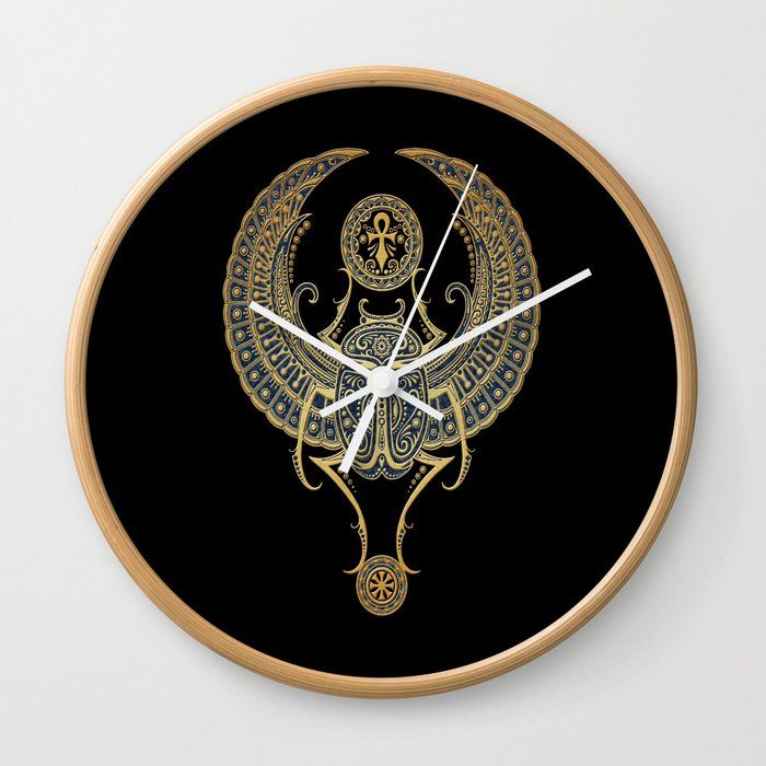Golden Blue Winged Egyptian Scarab Beetle With Ankh Wall Clock By