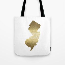 New Jersey state map gold foil Tote Bag