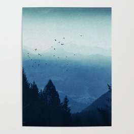 Blue Valmalenco - Misty Blue Mountains Poster