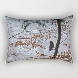 Crow in the mist Rectangular Pillow