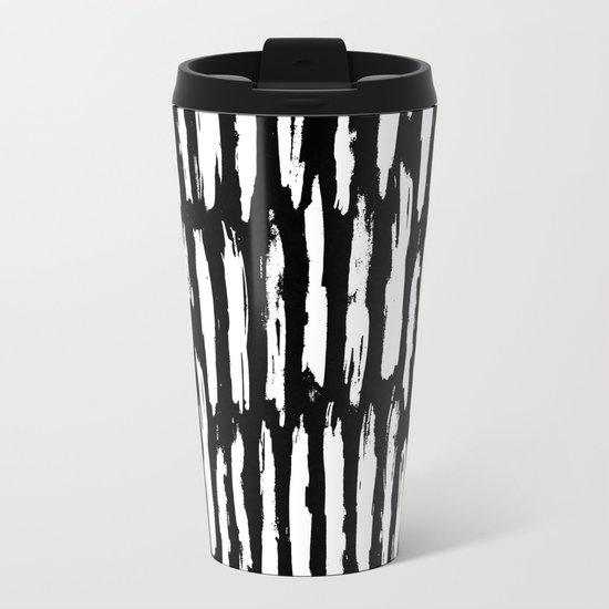 Vertical Dash White on Black Paint Stripes Metal Travel Mug