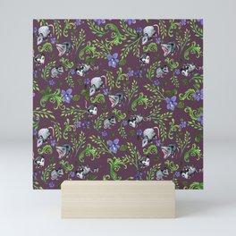 Opossum, Fern, & Violet Print Mini Art Print