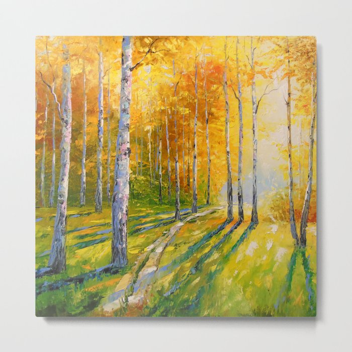 Road in a birch forest Metal Print
