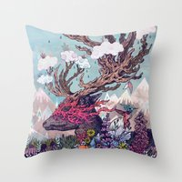 deer Throw Pillows featuring Journeying Spirit (deer) by Mat Miller