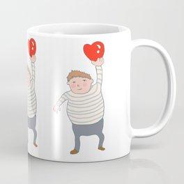 fat boy holding a heart. Coffee Mug