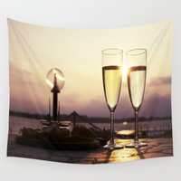 champagne Wall Tapestries featuring Champagne Date by Brown Eyed Lady
