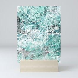 Sea foam teal marble Mini Art Print