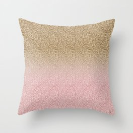 Elegant Rose Gold and Gold Glitter Sparkles Gradient Image Throw Pillow
