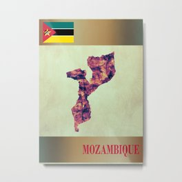 Mozambique Map with Flag Metal Print