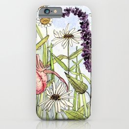 Lady Slipper Orchid Woodland Wildflower Watercolor iPhone Case