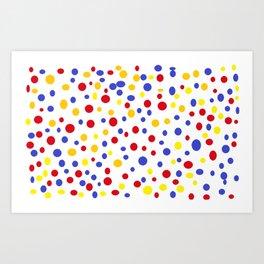 drops of colourful dots Art Print
