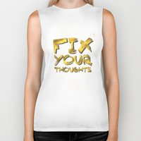 "pocketfuel Biker Tanks featuring Phil 4:8 ""Fix your thoughts..."" by Pocket Fuel"