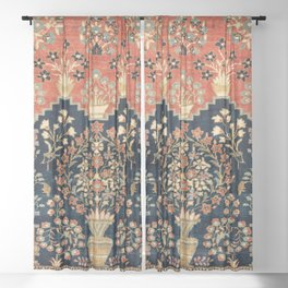Kashan Poshti  Antique Central Persian Rug Print Sheer Curtain
