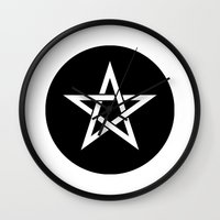 pentagram Wall Clocks featuring Pentagram Ideology by ideology