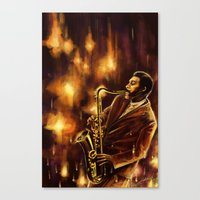 jazz Canvas Prints featuring Jazz by Linarts